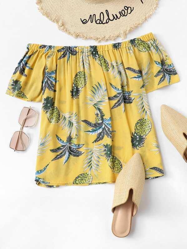 Off-Shoulder Pineapple Print Top