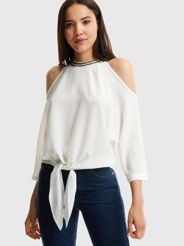 Beaded Detail Cold Shoulder Knot Hem Top