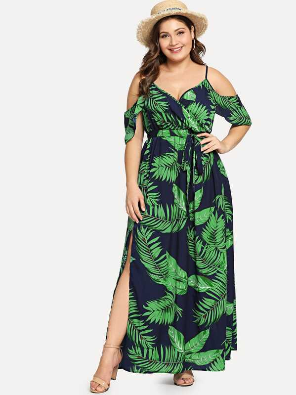 Plus Cold Shoulder Slit Hem Floral Dress, Carol