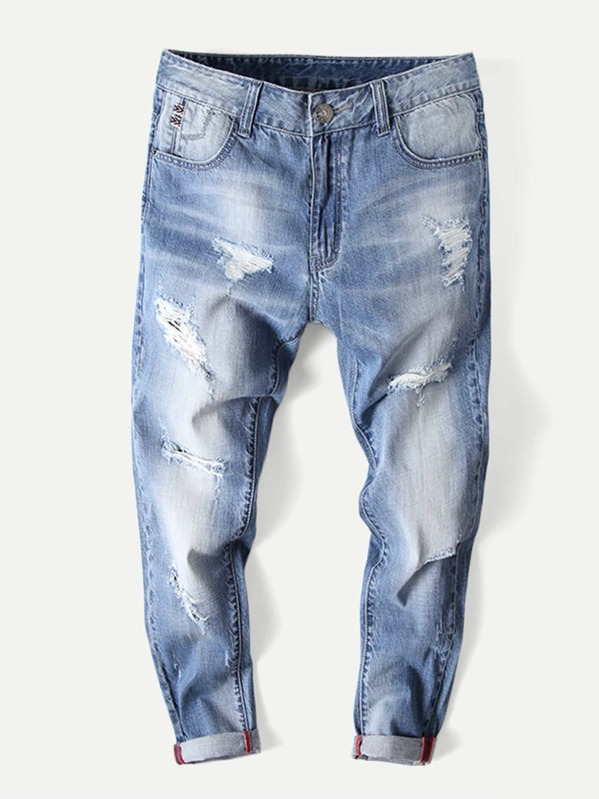 Men Rolled Hem Wash Destroyed Jeans, null
