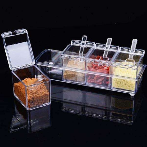 Clear Spice Container 4pcs & 4pcs Spoon