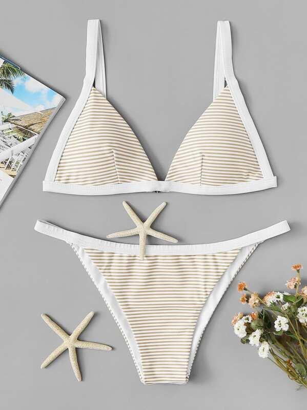Contrast Piping Striped Triangle Top With Tanga Bikini Set