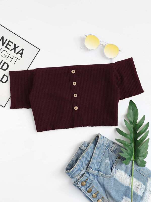 Off Shoulder Single Breasted Crop Tee, null