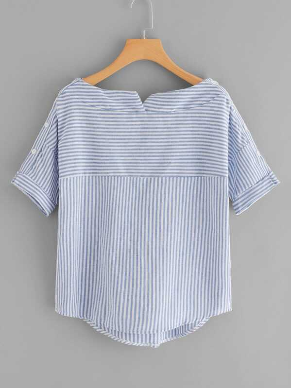Boat Neckline Striped Blouse With Buttons, null