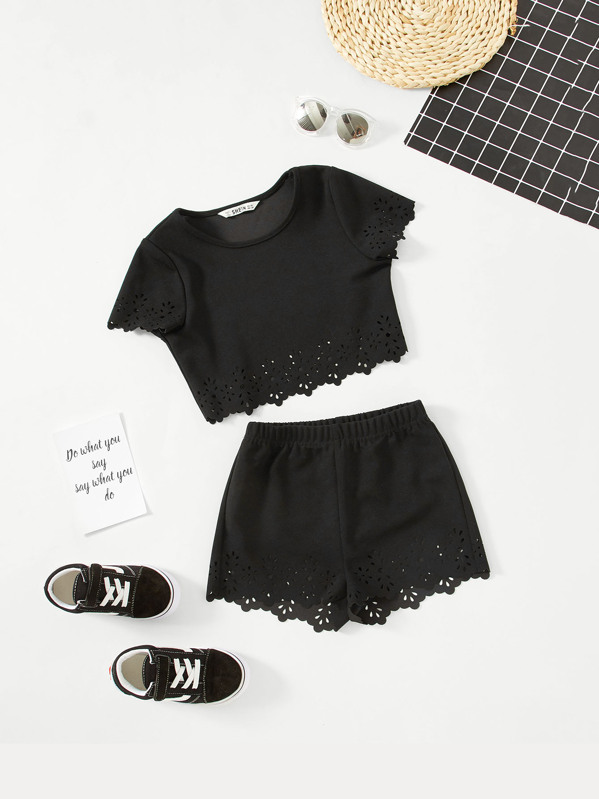 Girls Cut Out Eyelet Scallop Trim Top & Shorts Set