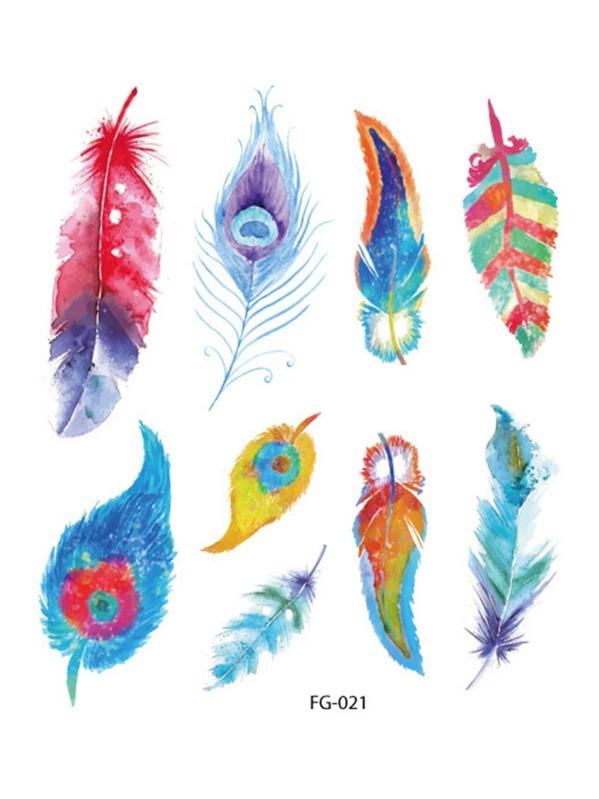 Feather Pattern Tattoo Sticker, null