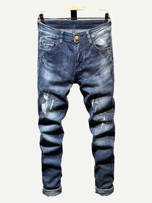 Men Rolled Hem Destroyed Jeans, null