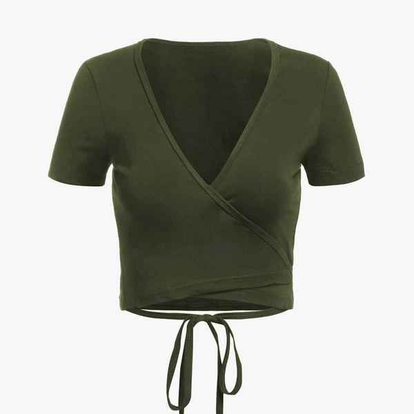 Self Tie Wrap Crop T-Shirt, Army green