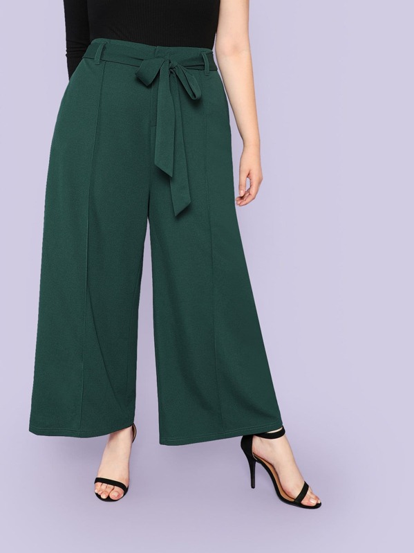 Plus Self Belted Palazzo Leg Pants, Faith Bowman