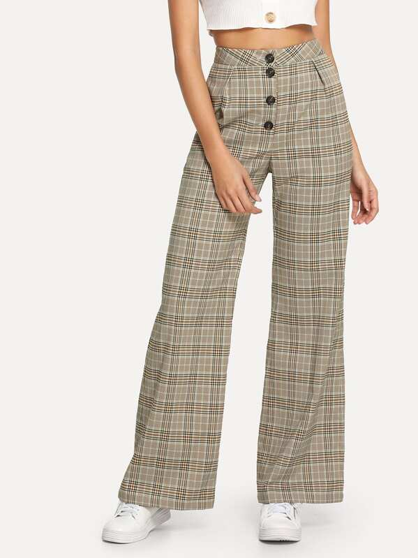 Button Fly Wide Leg Plaid Pants, Giulia