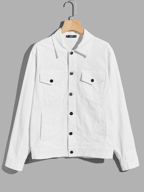 Men Pocket Patched Button Up Shirt