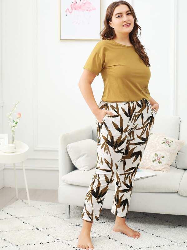 Plus Bamboo Leaf Print Pajama Set, Franziska