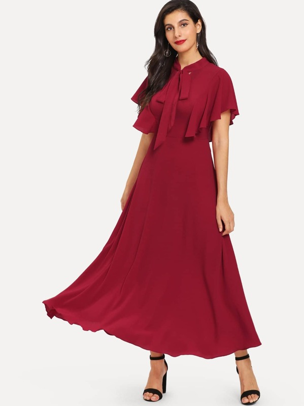 Tie Neck Flutter Sleeve Fit and Flare Dress