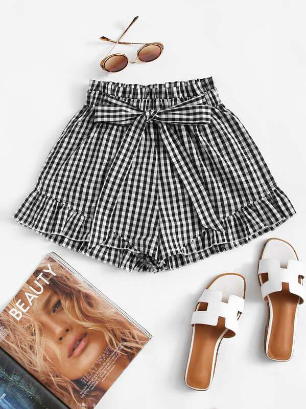 Frill Trim Knot Front Checked Shorts, null