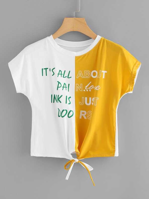Color Block Slogan Print Knot Hem Tee, null