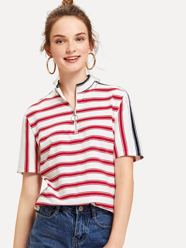 Striped Print O-Ring Zip Front Tee, Tory