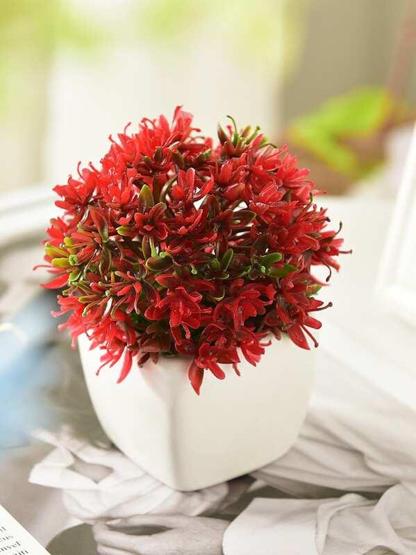 Artificial Plastic Flower In Ceramic Pot