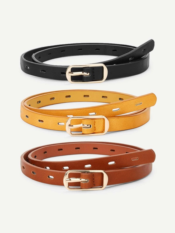 Metal Buckle Hollow Out Belt 3 Pcs, null