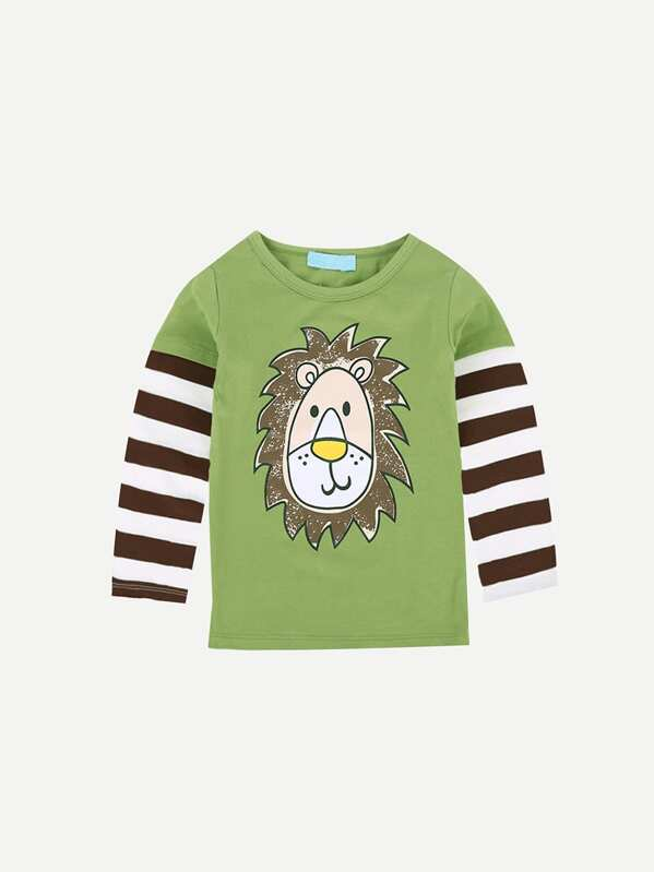 Boys Lion Print Striped Sleeve Tee, null