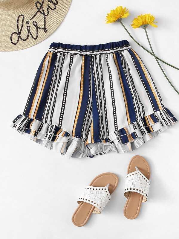Frill Hem Striped Shorts, null