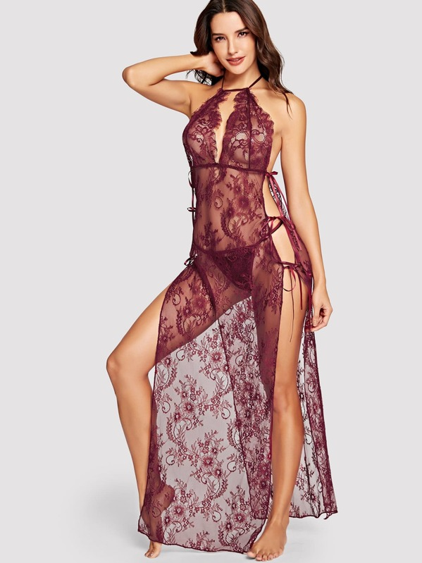 High Split Floral Lace Dress With Thong, Juliana