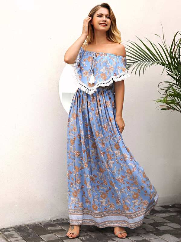 Off Shoulder Tassel Trim Flounce Maxi Dress, null