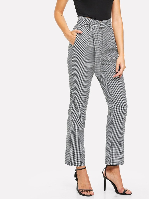 Plaid Pants with D-Ring Belt, Masha