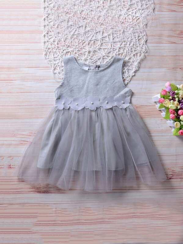 Сетчатое платье с украшением жемчугов для девочки, null