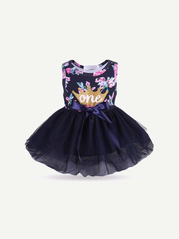 Сетчатое платье с рисунками цветов и с украшением банта для девочки, null