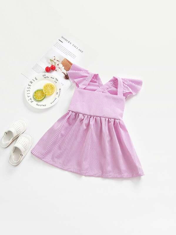 Тонкое полосатое платье и с поясом для девочки, null