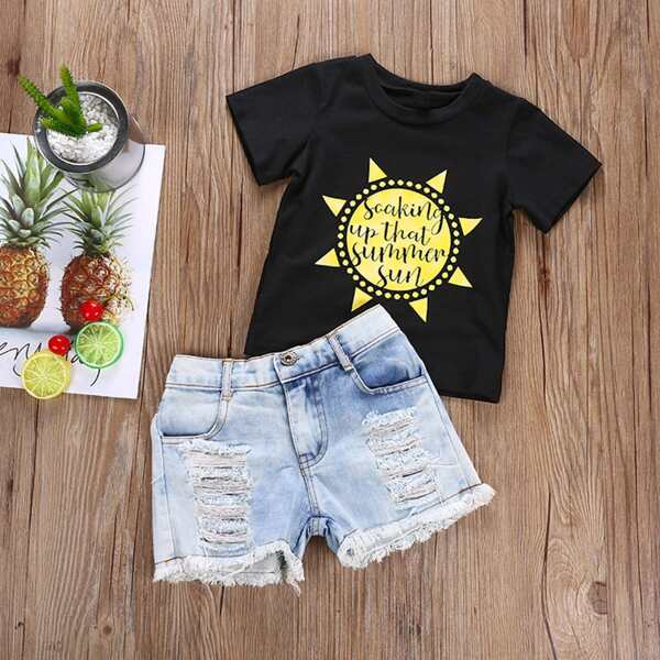 Toddler Girls Sunflower Graphic Tee With Destroyed Denim Shorts, Multicolor