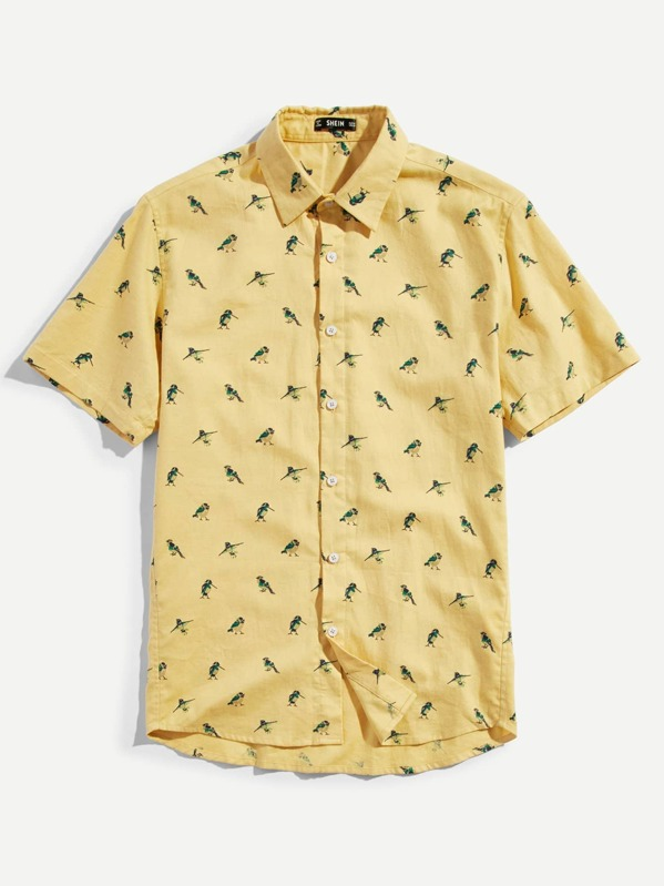 Men Allover Bird Print Shirt