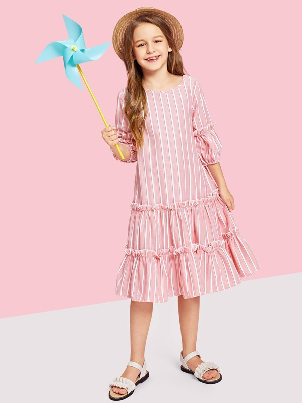 Girls Lantern Sleeve Layered Ruffle Striped Dress
