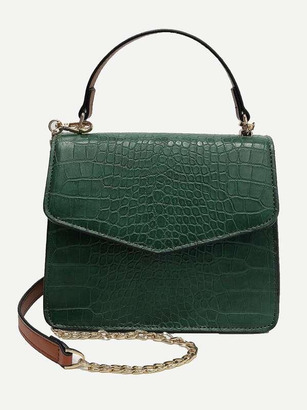 Croc Embossed Flap Grab Bag