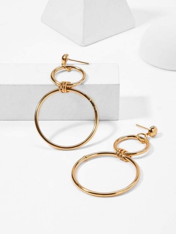 Double Layered Circle Hoop Drop Earrings 1pair, null