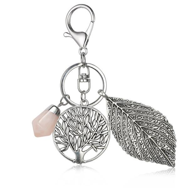 Tree & Leaf Detail Keychain, Silver