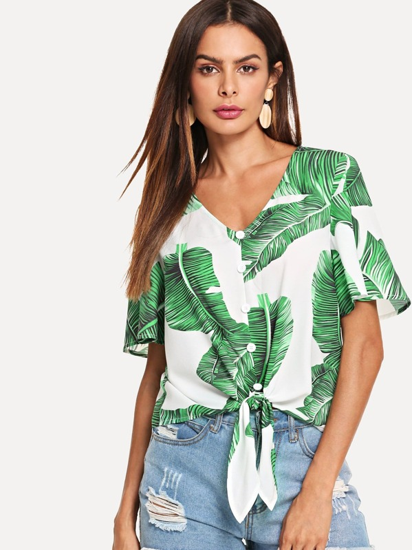 Button Through Knot Front Leaf Top, Andy