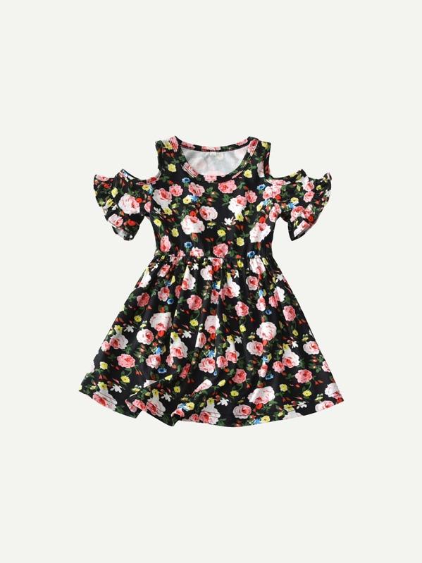 Ситцевое платье с складками для девочки, null