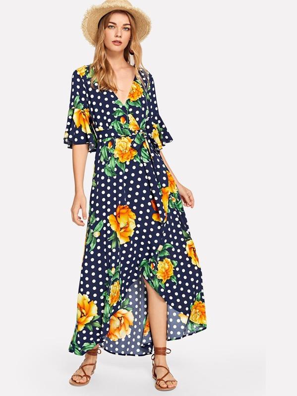 Flower & Polka Dot Print Wrap Dress, Teresa