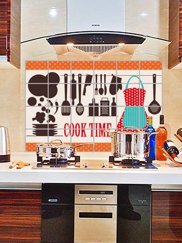 Oil Proof Kitchen Tools Pattern Wall Sticker