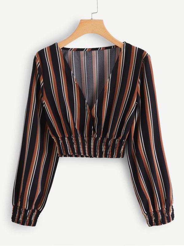 Shirred Trim Plunge Striped Crop Top