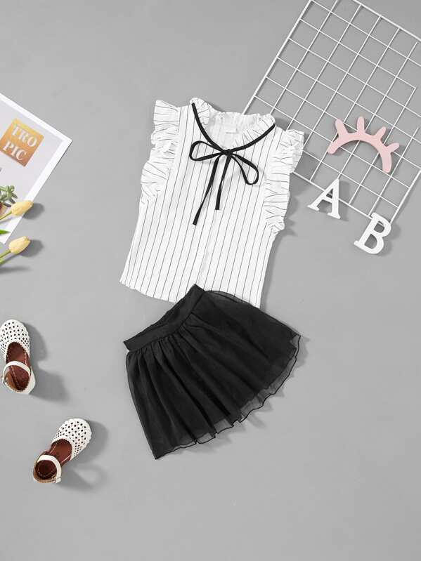 Girls Striped Frill Trim Blouse With Shorts