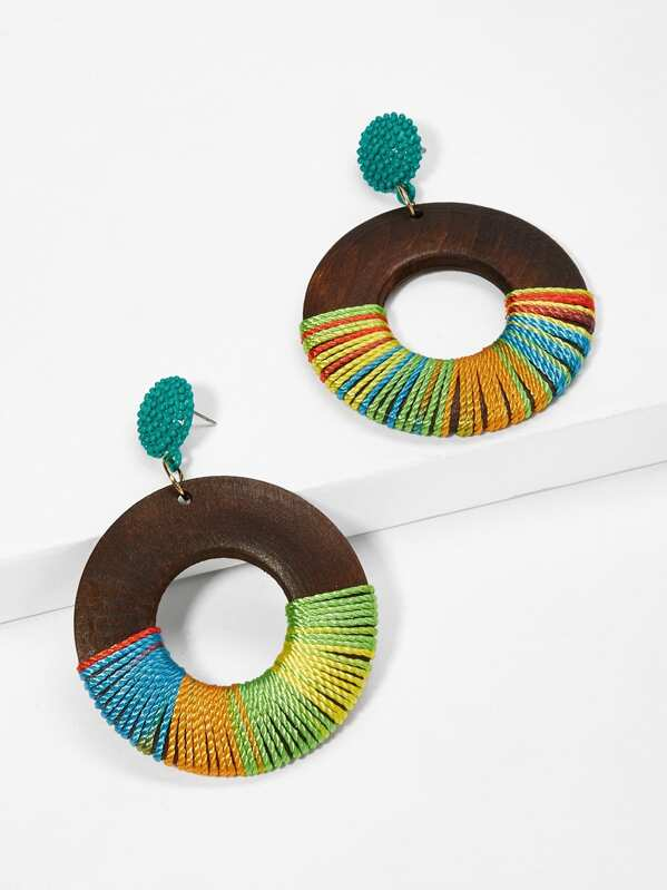 Color Block Hoop Drop Earrings 1pair, null