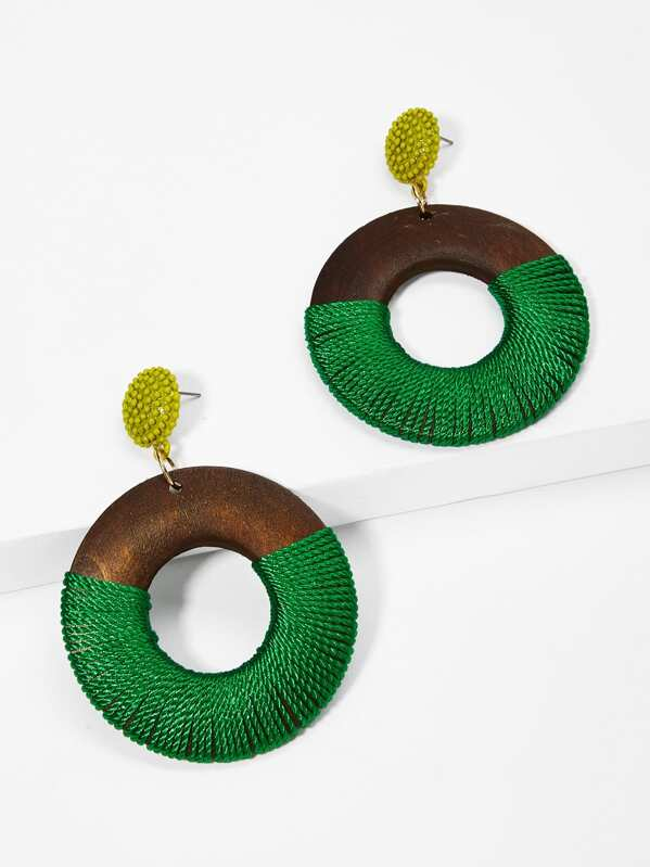 Two Tone Hoop Drop Earrings 1pair