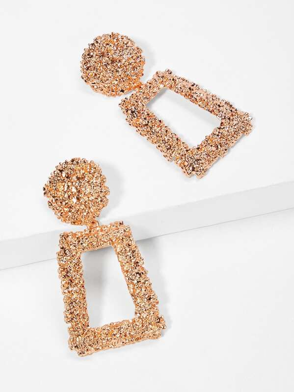Open Rectangle Textured Drop Earrings 1pair, null