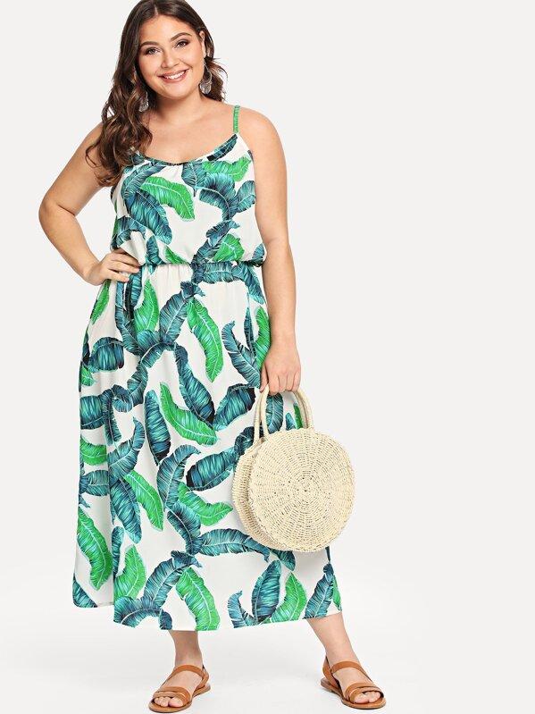 Plus Cold Shoulder Palm Tree Print Dress, Carol