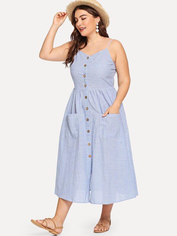 6e18861dfb Plus Pocket Front Corduroy Pinafore Dress - shein.com - imall.com