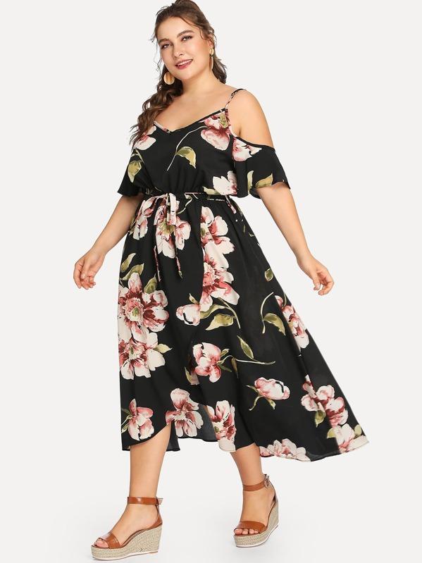 Plus Cold Shoulder Belted Flower Print Dress, Franziska