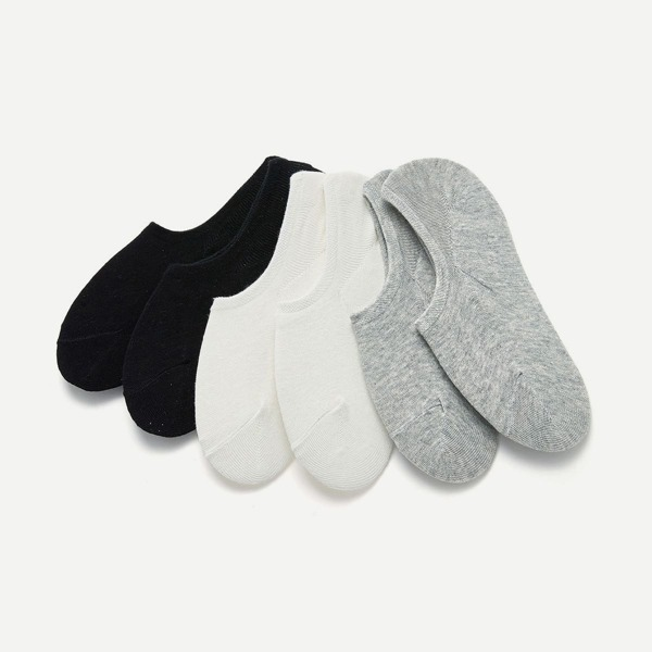 Plain Invisible Socks 6pairs, Multicolor