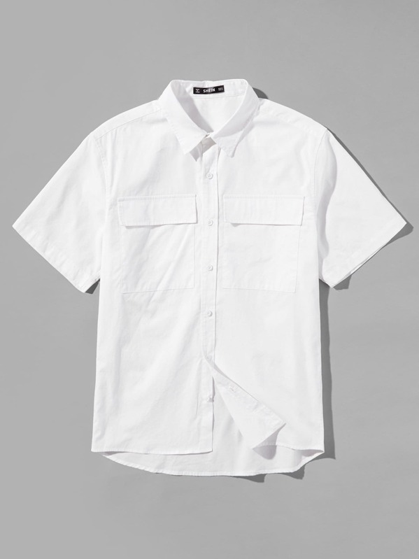 Men Double Pocket Patched Front Shirt